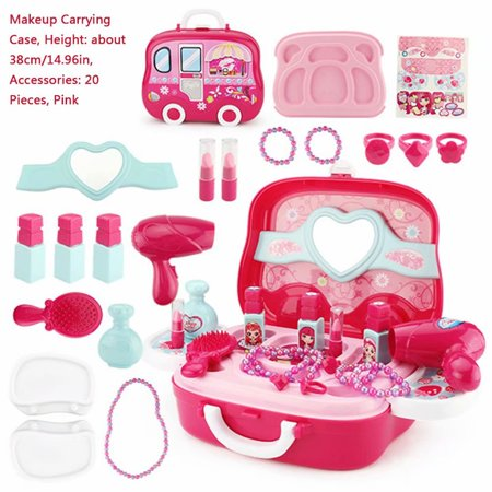 Akoyovwerve 20Pcs Pretend Play Cosmetic and Makeup Toy Pretend Play Dress-up Beauty Salon Toy Set Kit for Little Girls & Kids (Kid Toys For Girls)