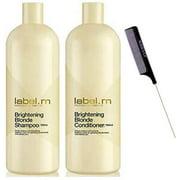 Label M Brightening BLONDE Shampoo & Conditioner DUO SET (w/ Sleek Comb) Gradually Lightens & Brightens Blonde Hair (33 oz + 33 oz - LARGE LITER DUO KIT)