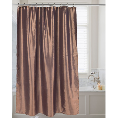 """Shimmer"" Faux Silk Shower Curtain in Bronze"