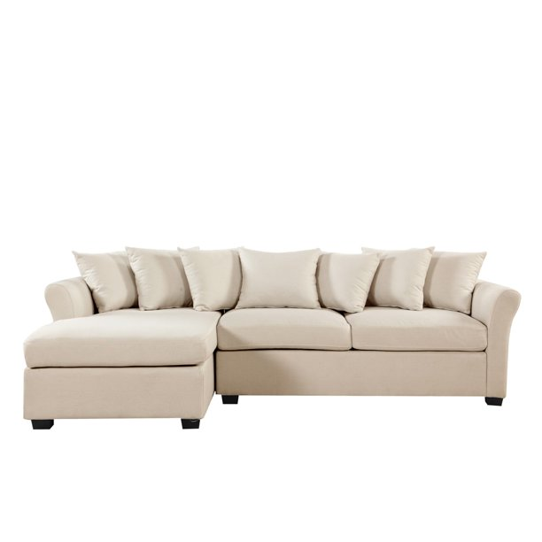 Linen Fabric L Shape Couch With Left, Large Linen Fabric Sectional Sofa With Left Facing Chaise Lounge