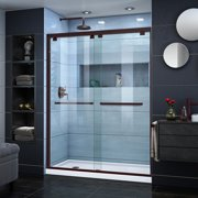 DreamLine Encore 34 in. D x 60 in. W x 78 3/4 in. H Bypass Shower Door in Oil Rubbed Bronze and Left Drain White Base Kit