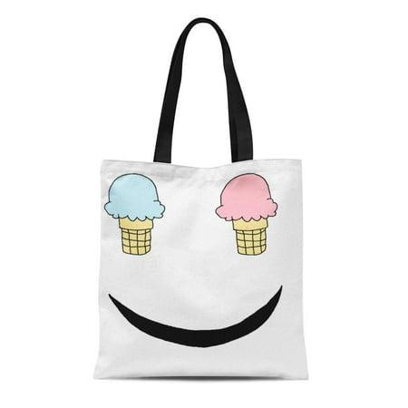 NUDECOR Canvas Tote Bag Sweets Ice Cream Happy Cute Cone Kawaii Reusable Handbag Shoulder Grocery Shopping Bags - image 1 of 1