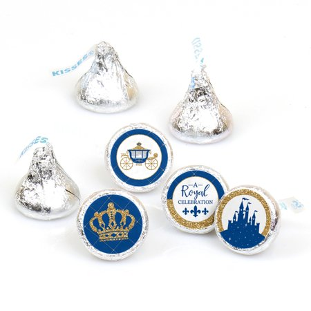 Royal Prince Charming - Baby Shower or Birthday Party Round Candy Sticker Favors - Labels Fit Hershey's Kisses - 108 Ct - Kiss Kruise Halloween Party