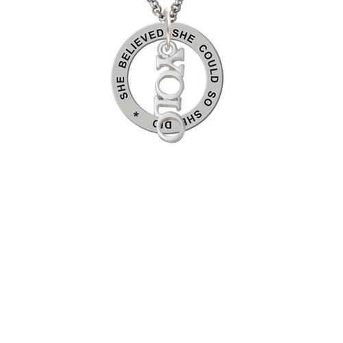 Small YOLO She Believed She Could Affirmation Ring Necklace