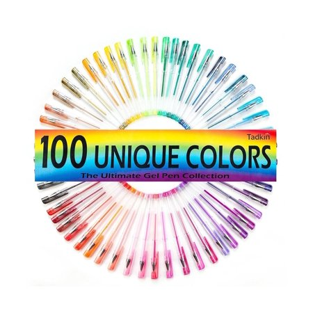 Gel Pens Set of 100 - Metallic, Pastel, Neon, Classic and Glitter Coloring Pack (Nylon Pastels)