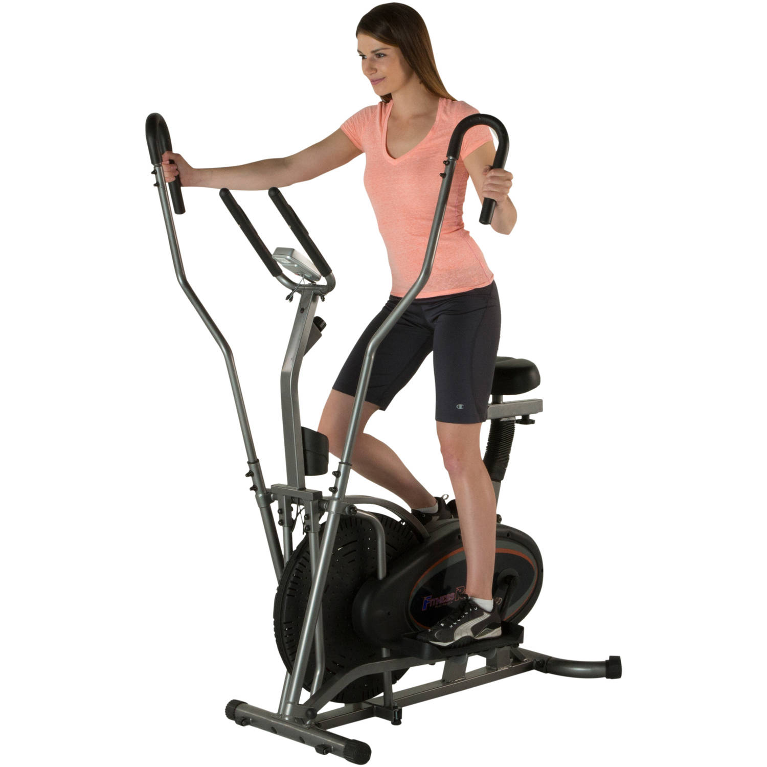 Fitness Reality E3000 2-In-1 Air Elliptical/Exercise Bike with Extended Dual Action Arms and Heart Rate Monitor