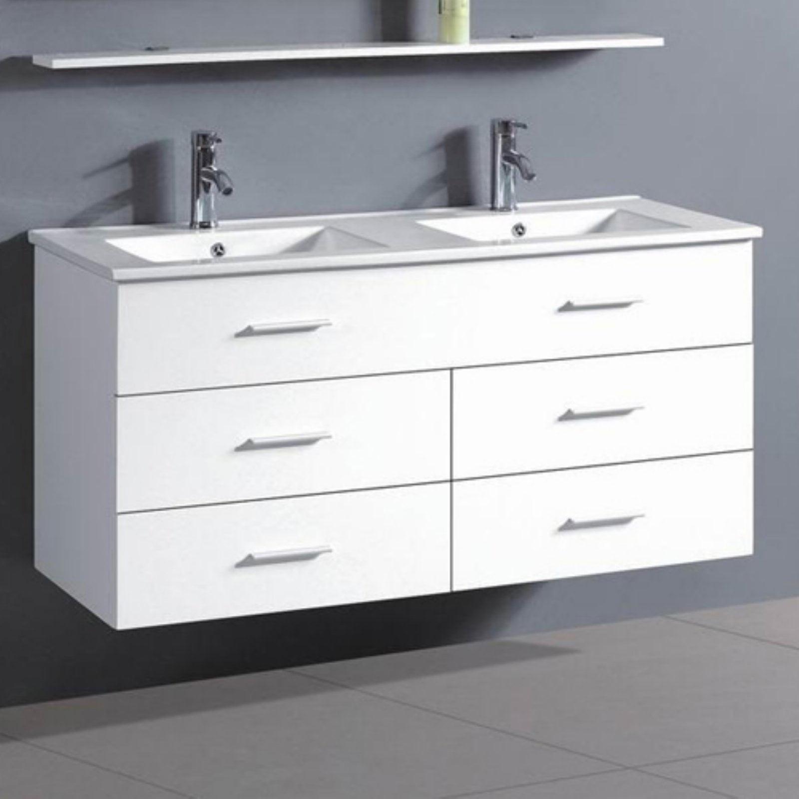 Belvedere 48 in. Contemporary Floating Double Bathroom Vanity