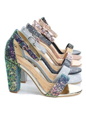 6d859136f6 Product Image Frenzy by Bamboo, Block Heel Mesh Glitter Open Toe Dress  Sandal w Adjustable Ankle Strap