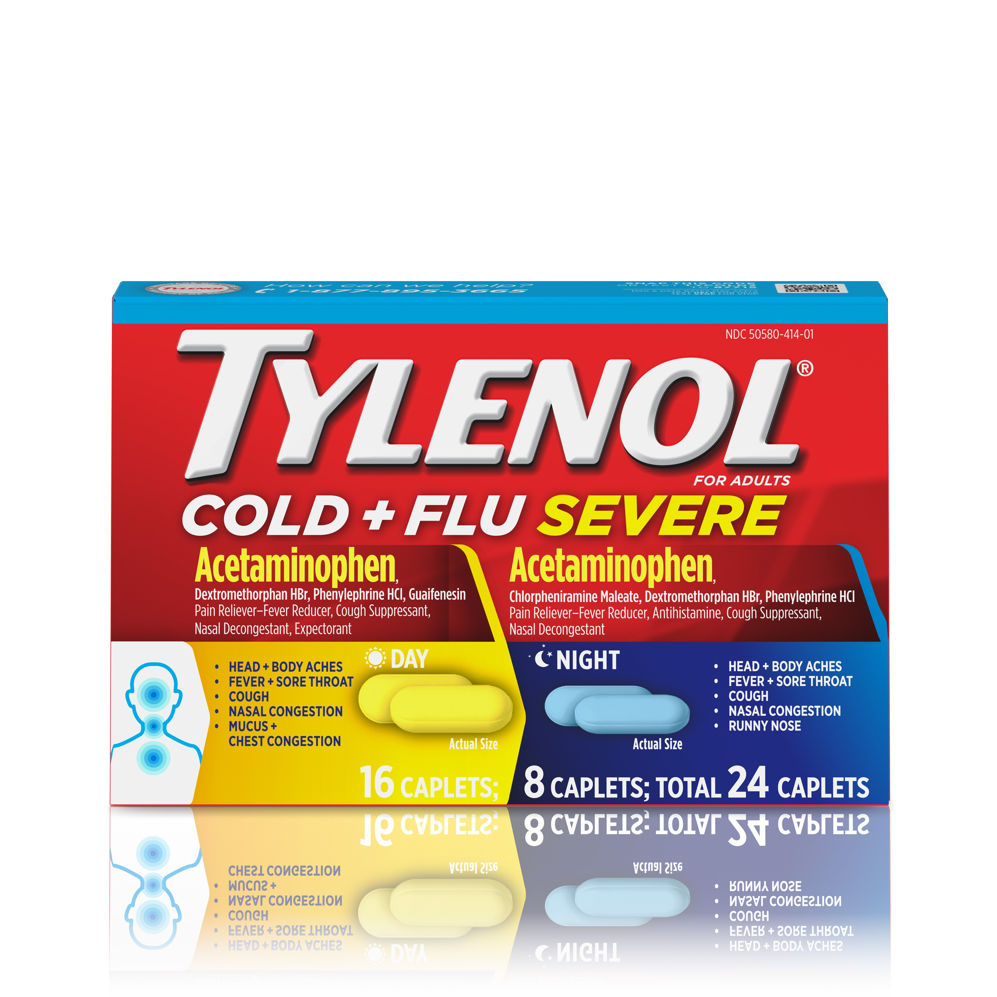 Tylenol Cold + Flu Severe Day/Night Caplets, 24 Count