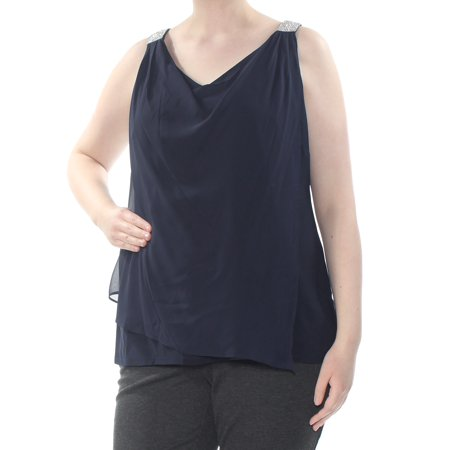 MSK Womens Navy Embellished Sleeveless Scoop Neck Top Plus  Size: 1X