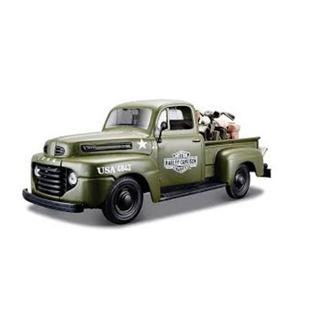 1948 Ford F-1 Pickup Truck Harley Davidson Flat Army Green With 1942 Harley Davidson WLA Flathead Motorcycle 1/25 by Maisto 32185, model car By