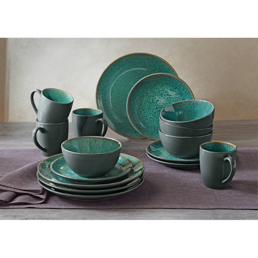 BETTER HOMES AND GARDEN 16PC ASTOR GREEN DINNERWARE SET