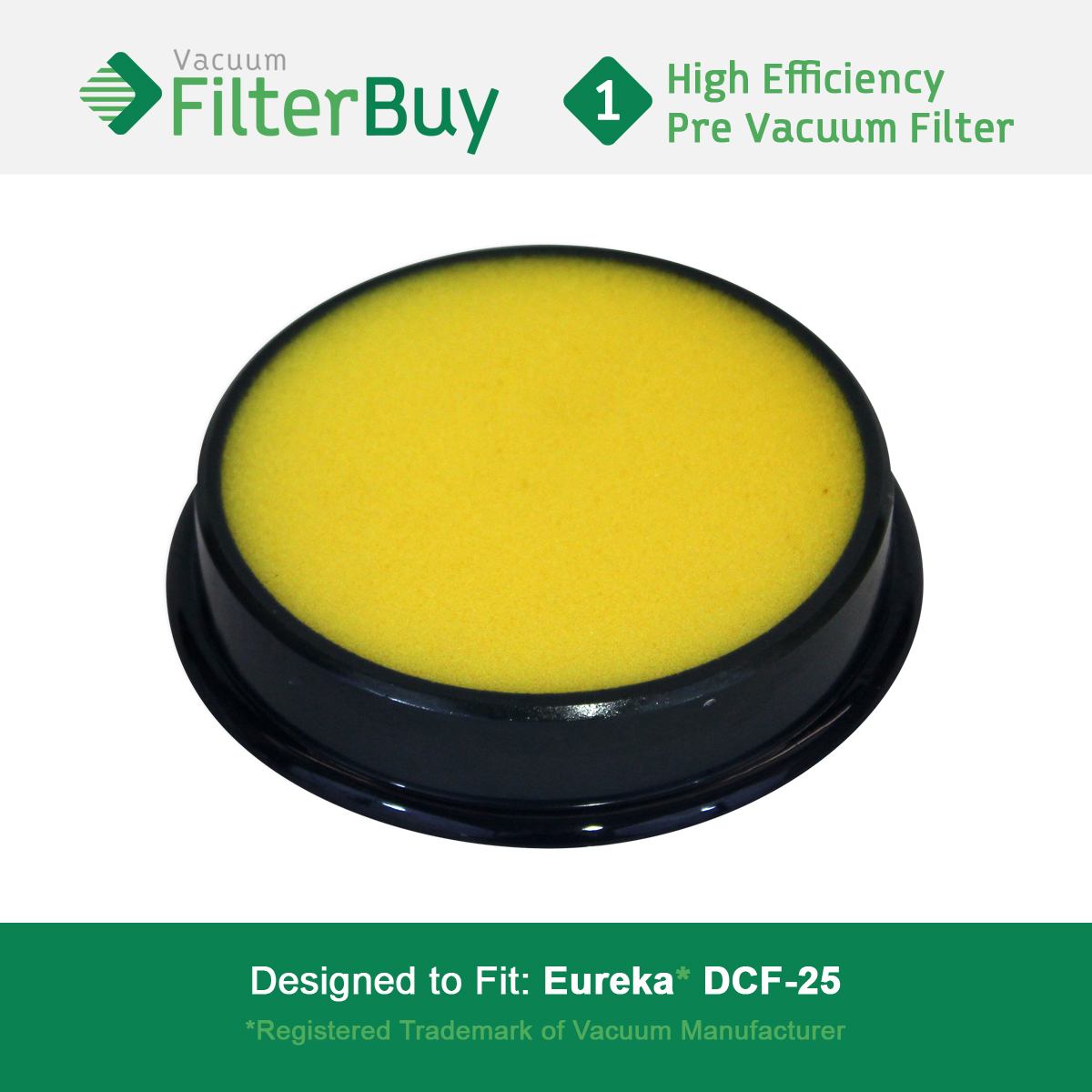 Eureka DCF25 (DCF-25) Washable & Reusable Filter, Eureka Part # 67600 & Electrolux Part # 82982.  Designed by FilterBuy to fit Eureka Airspeed, SuctionSeal & Endeavor NLS.