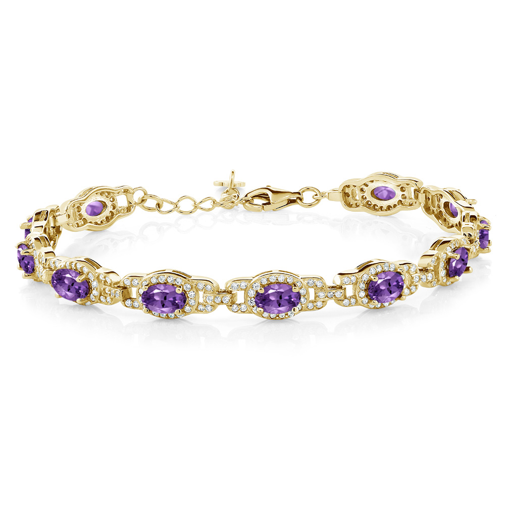 8.55 Ct Oval Purple Amethyst 18K Yellow Gold Plated Silver Bracelet