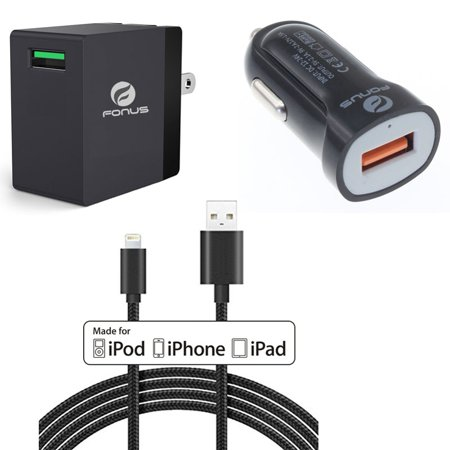 3-in-1 Combo Adaptive Fast Home Car Charger 6ft Long USB Cable for  Sprint iPad Mini - AT&T iPad Mini - Sprint iPad Air 2 - AT&T iPad Air 2 - Verizon iPad Air 2 - T-Mobile iPad Air 2 - Sprint iPad Air (Combo Version Air)