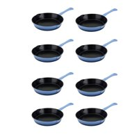 Hamilton Beach Blue 8 Inch Enameled Coated Cast Iron Frying Pan Skillet (8 Pack)
