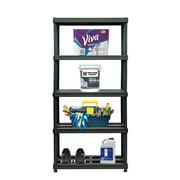"Juggernaut Storage 36""W x 18""D x 72""H 5-Shelf Resin Shelving, 750 lb Capacity Black"