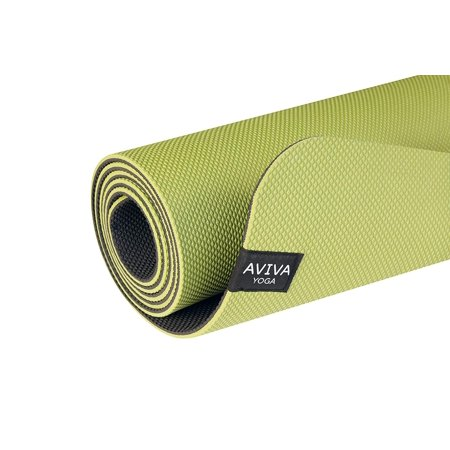 AVIVA YOGA 5mm Yoga Mat – Premium, Eco-Friendly, Reversible TPE Foam Mat with Embossed Center Markings to Help Your Body Alignment (Green)