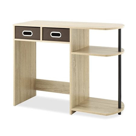 Computer Writing Desk With Side Shelves Removable Bins Natural