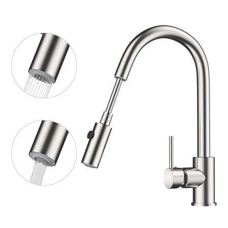 Rackaphile Single Handle Pull Down Sprayer Kitchen Faucet Tap With 360 Degree Swivel Br Spout One Hole Installation Hot Cold Water Lead Free