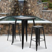 Flash Furniture 23.75'' Square Metal Indoor-Outdoor Bar Table Set with 2 Square Seat Backless Barstools, Multiple Colors