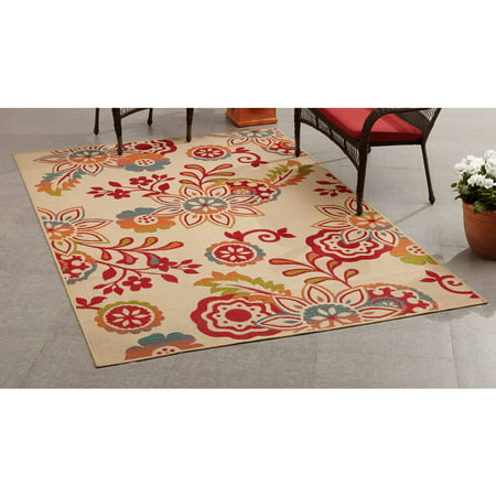 Mainstays outdoor indoor bright floral rug for Bright floral area rugs