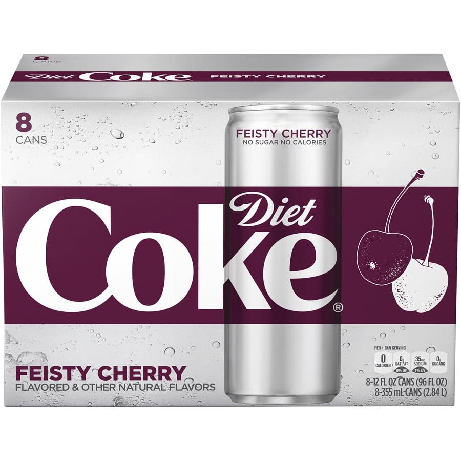 (3 Pack) Diet Coke Feisty Cherry Soda Slim Can, 12 Fl Oz, 8 Count