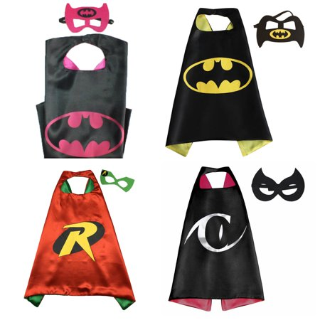 4 Set Superhero  Costumes - Capes and Masks with Gift Box by Superheroes (Female Masked Superheroes)