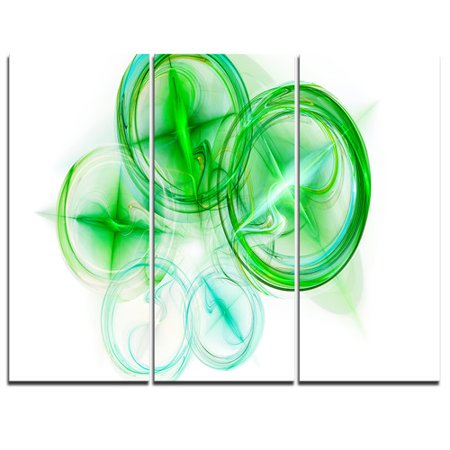 Design Art Green Fractal Desktop Wallpaper   3 Piece Graphic Art On Wrapped Canvas Set