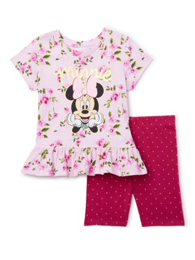 Minnie Mouse Toddler Girls Short Sleeve Ruffle Peplum Top & Bike Shorts Outfit, 2-Piece