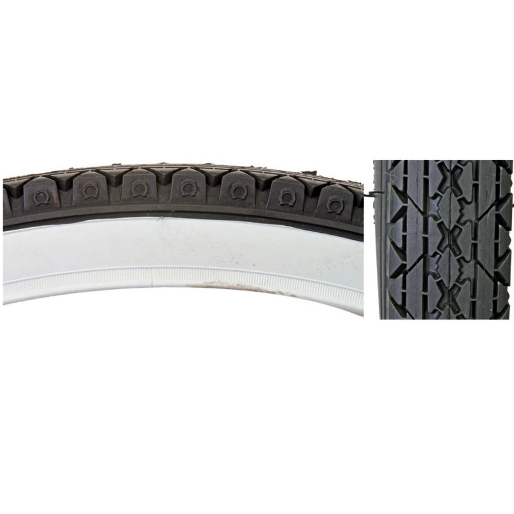 "Sunlite CST241 Cruiser Bicycle Tire Black / White 26"" x 2.125"" Wirebead"