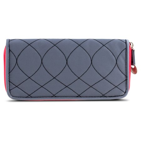 Travelon SafeID Hack-Proof Embroidered Ladies RFID Wallet  (Carolina Panthers Embroidered Wallet)