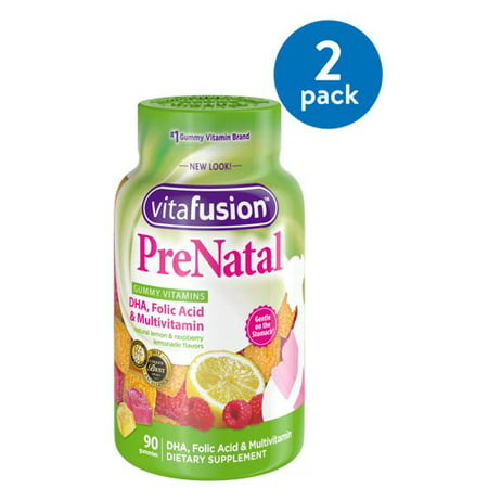 (2 Pack) Vitafusion Prenatal DHA, Folic Acid & Multivitamin Gummies, 90 Ct ()