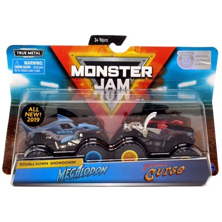 Down Size Truck - Monster Jam Double Down Showdown! Megalodon & Pirate's Curse Diecast Car 2-Pack
