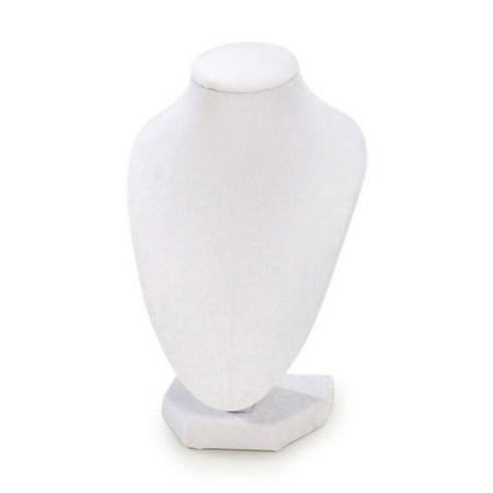 Velvet Necklace Display - Bust Necklace Stand - Velvet - White - 6 inches