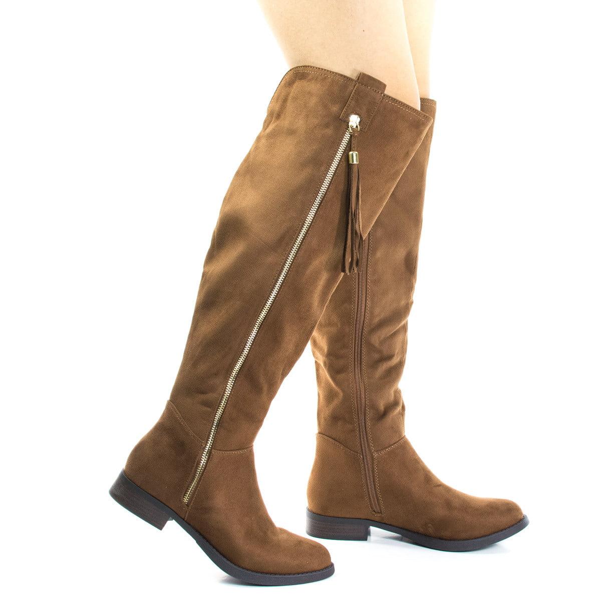 Abela by Soda, Equestrian Riding Boots W Stack Heel & Tassel On Zipper