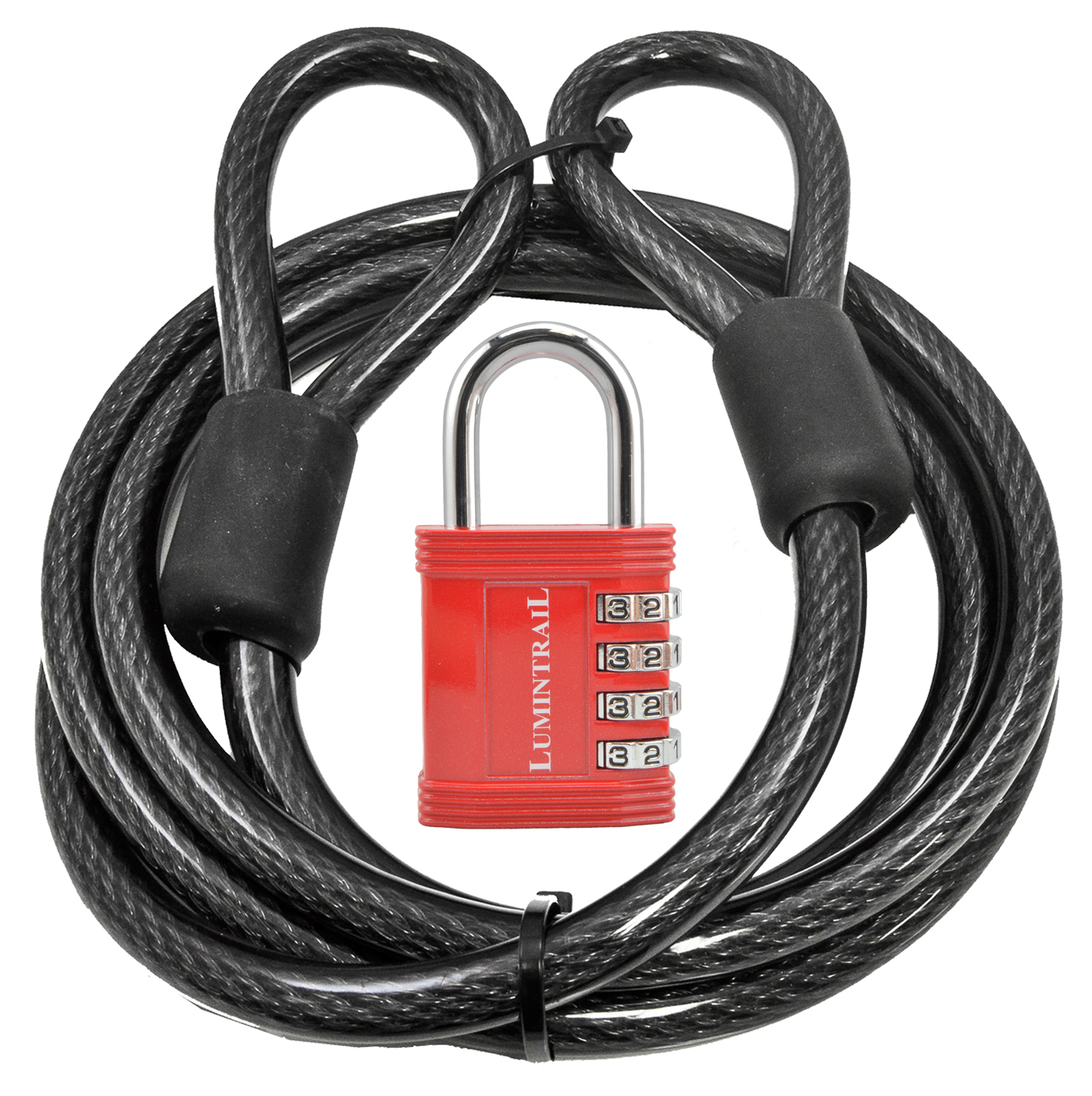 "Lumintrail 12mm (1/2 inch) Heavy-Duty Security Cable, Vinyl Coated Braided Steel, with Lumintrail 1"" Shackle Combination Padlock (4-ft, 7-ft, or 15-ft)"