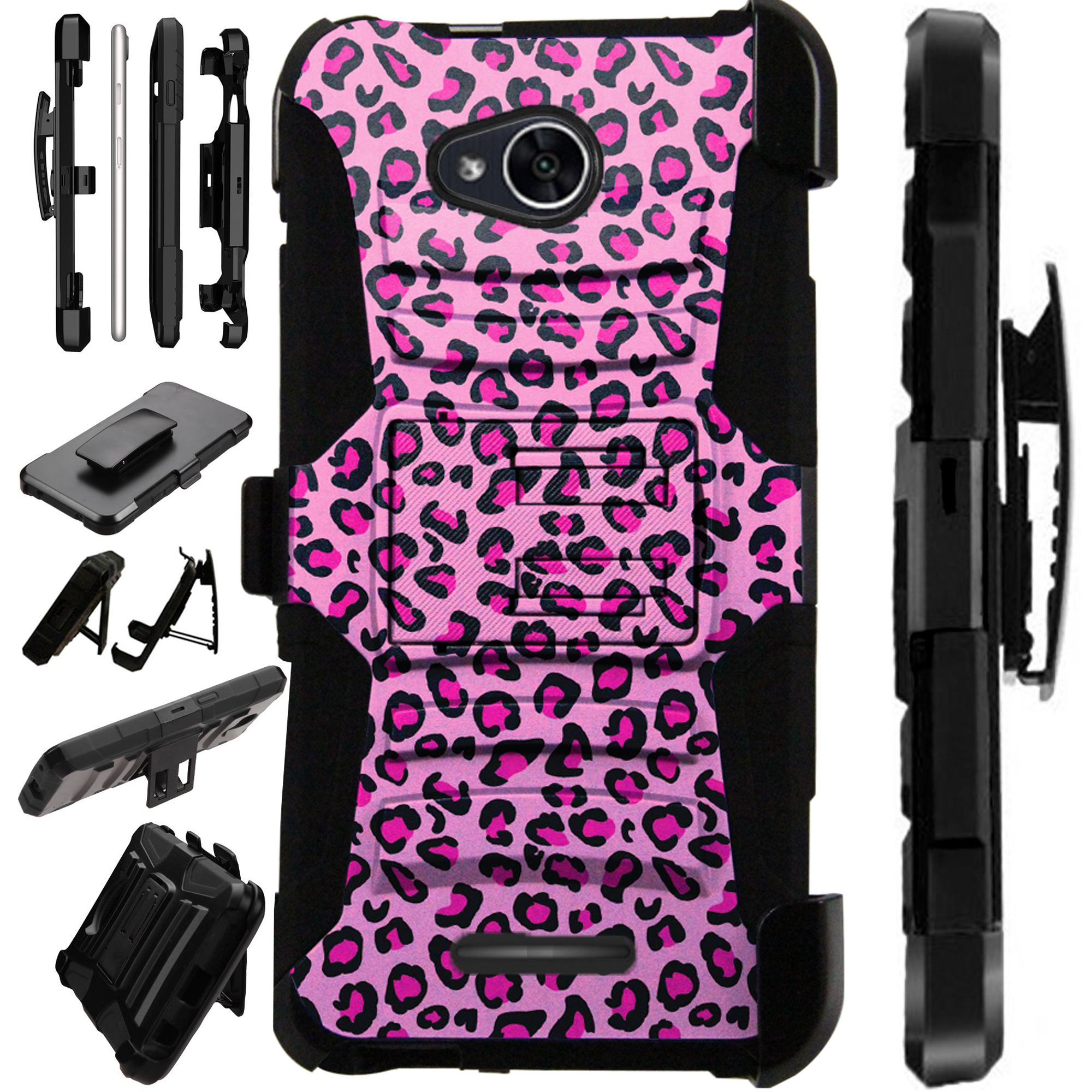 For Alcatel Tetra (2018) Case Armor Hybrid Silicone Cover Stand LuxGuard Holster (Pink Leopard Print)
