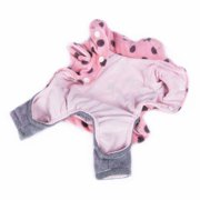 Light Pink Gray Dots Full Lining Fleece Top with Pants One Piece Pet Clothes Apparel For Dog - Extra Small (Holiday Christmas Gift for Pet)