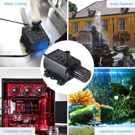 Decdeal USB DC5V 2.4W Ultra-quiet Mini Brushless Water Pump Waterproof Submersible Fountain Aquarium Circulating 250L/H Lift 200cm - image 7 de 7