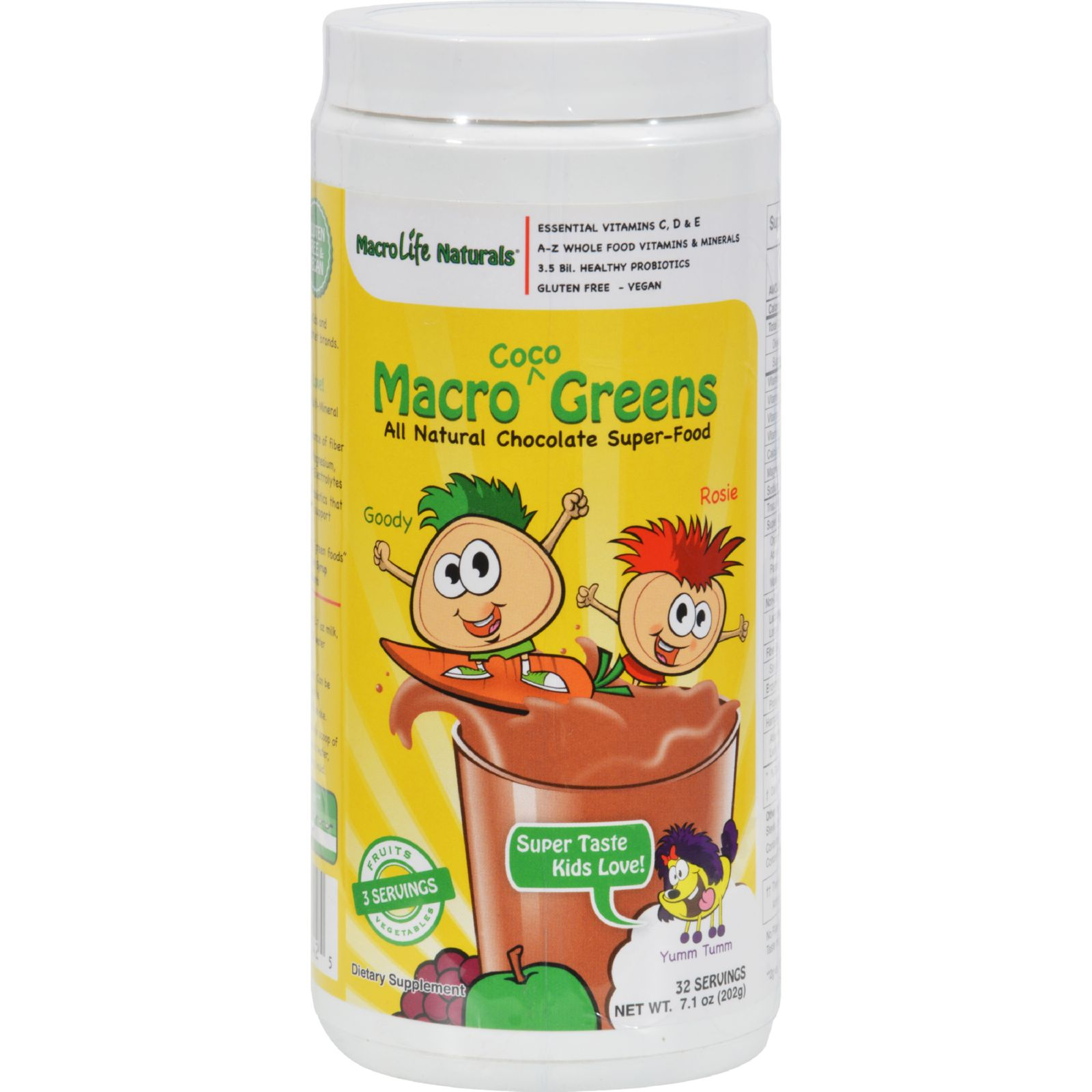 MacroLife Naturals Macro Coco Kids Greens Powder, 7.1 Oz