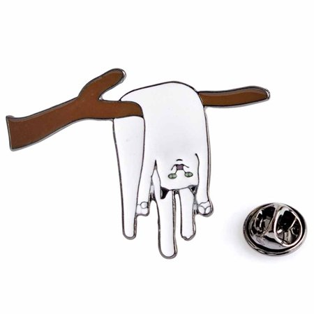Halloween Cat Face Pics (KABOER Lazy White Cat Brooch Cartoon Face Action Expression White Cat Enameled Brooches Fashionable Jacket Lapel)