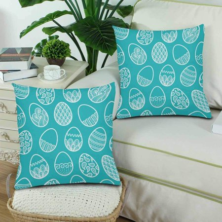 GCKG Doodle Easter Egg Pillowcase Throw Pillow Covers 18x18 inches Set of 2 - image 2 of 3