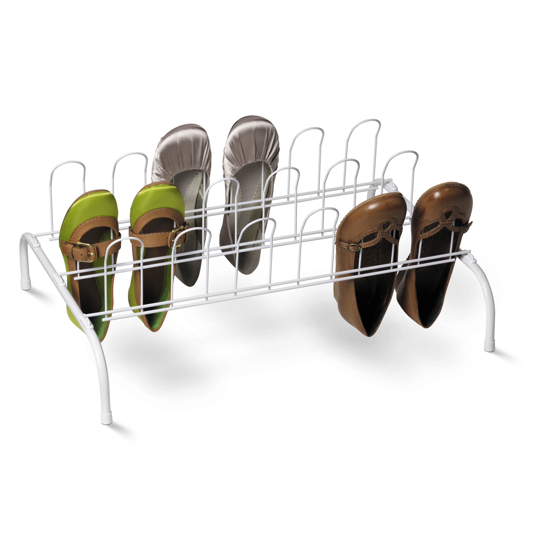 Honey Can Do 9-Pair Steel Wire Floor Shoe Rack, White