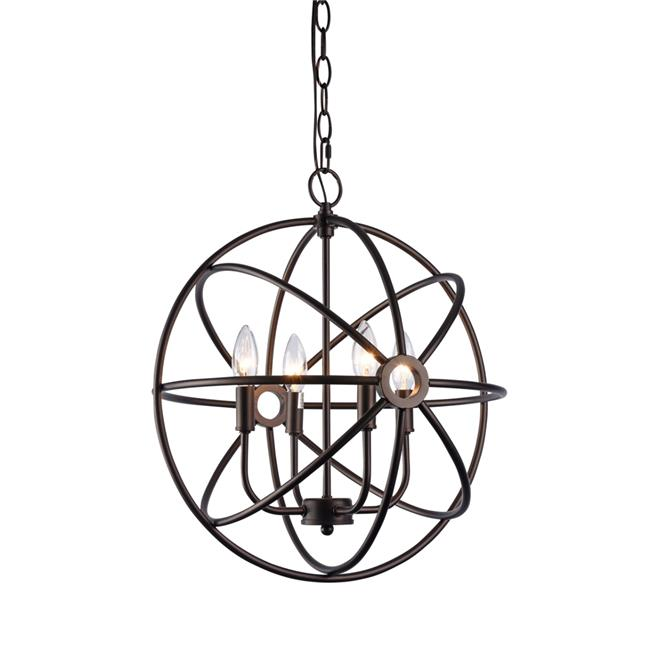 Chloe CH59038RB16-UP4 16 in. Lighting Ironclad Industrial-Style 4 Light Rubbed Bronze Ceiling Pendant - Oil Rubbed Bronze