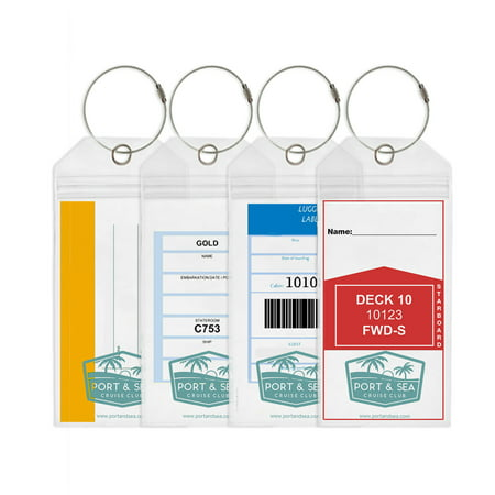 Cruise Luggage Tag (4 pack) for Carnival Cruise Lines, Costa, Holland America, Norwegian and P&O Port & Sea