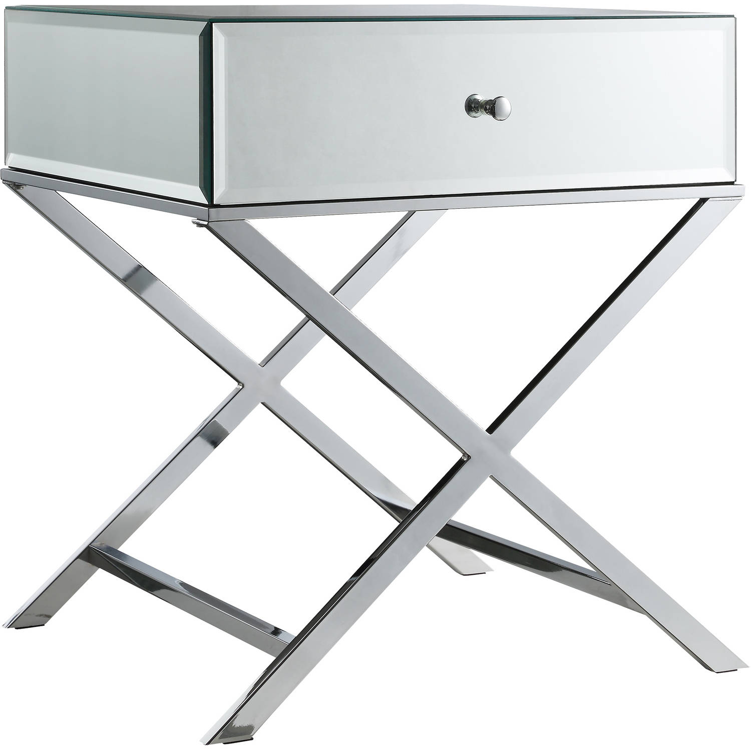 chelsea lane mirror end table with drawer chrome  walmartcom -