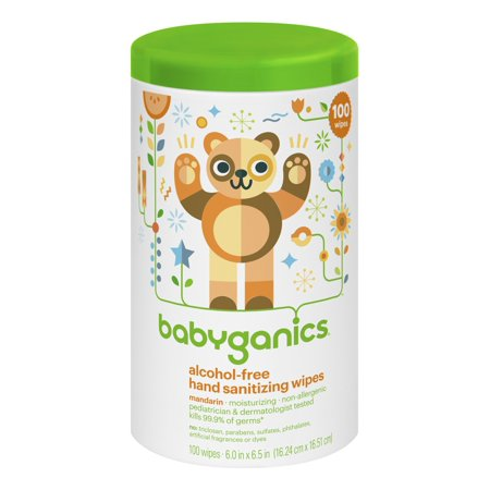 Babyganics Alcohol-Free Hand Sanitizing Wipes, Mandarin, 100 Ct