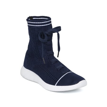 New Women Knitted Fabric Lace Up Tall Sock Sneaker - 18023 By Cape Robbin Line ()