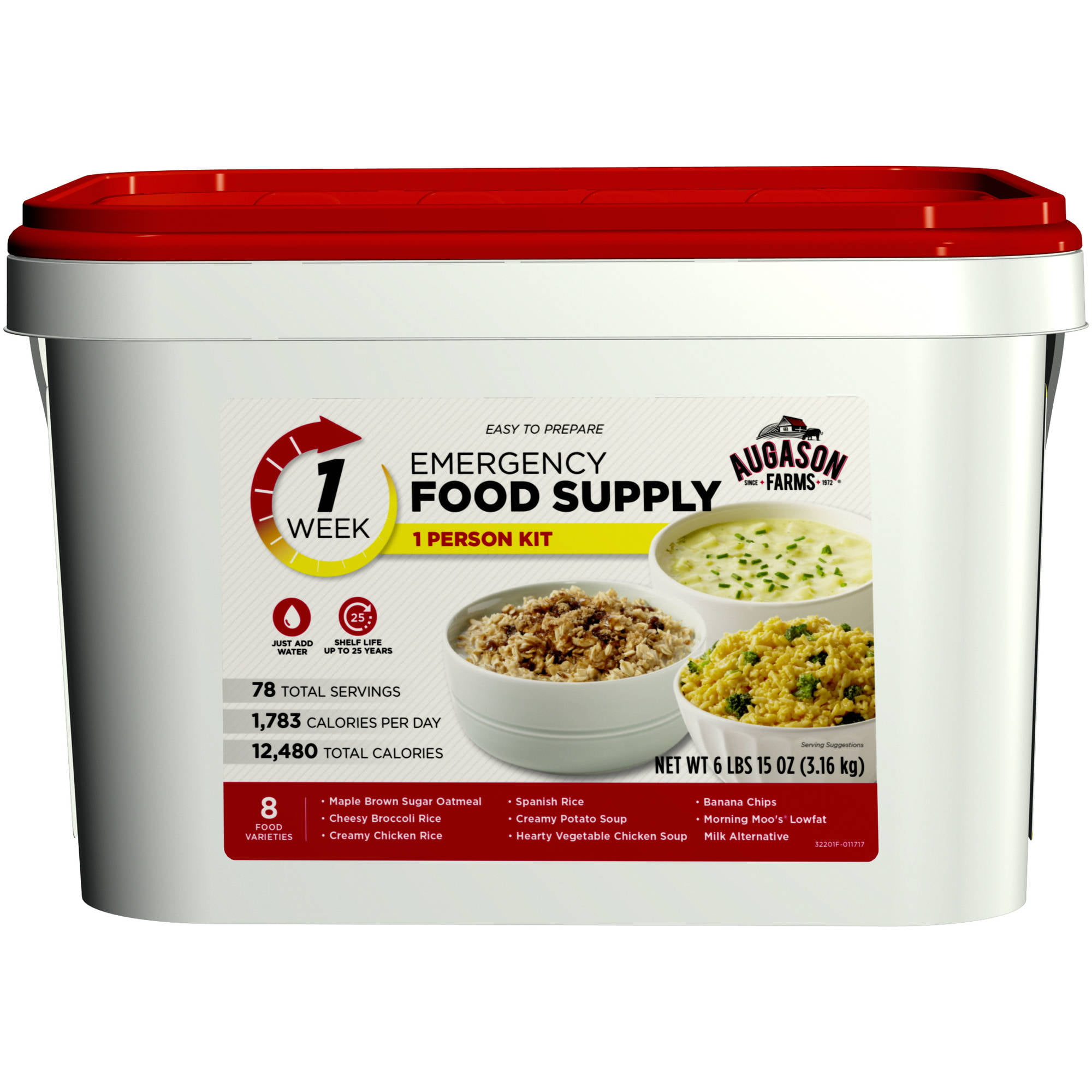 Click here to buy Augason Farms 1-Week 1-Person Emergency Food Supply Kit by Blue Chip Group.